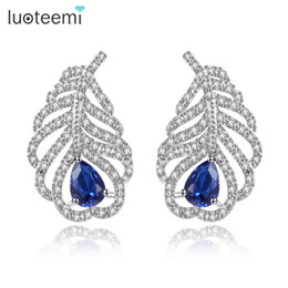 Wholesale Luxury Feather Earrings - Four Color Choice Charm Feather Earrings with Small Tiny CZ Stone White-Gold Color Luxury Party Earrings for Women LUOTEEMI