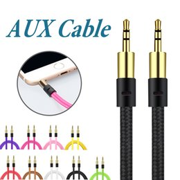 Wholesale Car Headphones - Braid 3.5mm Auxiliary Cord Male to Male AUX Cable Stereo Audio Cable Car Audio Headphone Jack PC iPad without Package