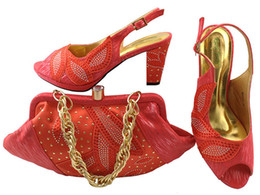 Wholesale Dress Shoes Bag - Gorgeous coral shoes match bags with rhinestones series african lady shoes and handbag set for dress MM1043,heel 8CM