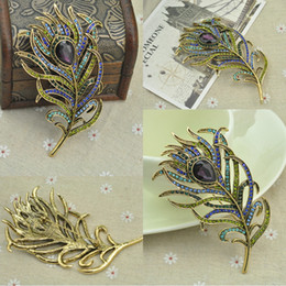 Wholesale Feather Corsages - 106x59mm Woman Crystal Flower Corsage Suit Brooch Pin with Austrian Crystal Angel Feather Fashion Costume Pin Brooch Christmas Gift B531S