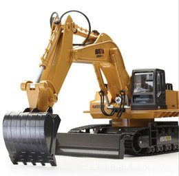 Wholesale Motor Channel - Wholesale- Huina 1510 510 RC Excavator 2.4G 11CH Metal Remote Control Engineering Digger Truck Model Electronic Heavy Machinery Toy