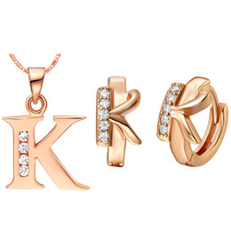 Wholesale K 925 - Plated NEW suit 925 Sterling Silver made with letter pendant earring color letters K