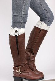 Wholesale Wholesale Hollow Knee Boots - Wholesale- New 2016 Winter Women's Knitted Crochet Knee Leg Warmers Ladies Sweater Hollow Out Short Boot Cuffs Button Toppers Socks Cheap