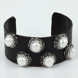 Wholesale Wholesale Craft Cuff Bracelets - Hand-crafted leather snake leather large cuff bracelet elegant freshwater pearl with rhinestone bracelet jewelry bracelet find