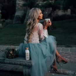 Wholesale Turquoise Short Dress Piece - See though Long sleeve Homecoming dress White Lace With Turquoise Tulle Fancy Knee Length Two Pieces Party Gowns Beach short formal Dress