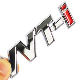 Wholesale Toyota Camry Badges - Metal VVT-i VVTi Logo Chrome Silver Strip Car Fender Sticker Side Emblem Badge for TOYOTA Camry COROLLA YARiS Ralink REIZ CROWN