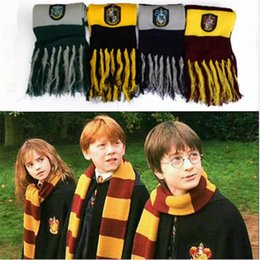 Wholesale winter scarf wholesale - Harry Potter Scarf Winter Scarve Cosplay Costume Series Cotton High Quality Scarves Cute Wraps Badge Personality Knit Tassel Scarves YYA496
