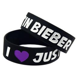 2020 bracciali bieber 50PCS / Lot I Love Justin Bieber Wristband in silicone ideale per i regali di qualsiasi tipo di musica bracciali bieber economici