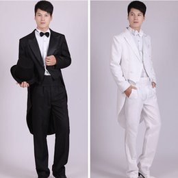 Wholesale Tailcoat Bow - Wholesale- (Jacket+Pants t+Bow tie+Belt) new Men's Tuxedo Black and white Tailcoat Suits Men's Blazers Slim Fit Groom Wedding Prom Tuxedo
