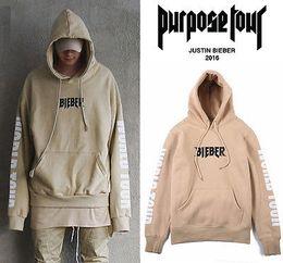Wholesale Collar Hoodies - Wholesale- Hot Justin Bieber Purpose Tour Hoodie Long Sleeve Casual Tops Sweatshirt Men Women Unisex Hoodied Sweartshirt