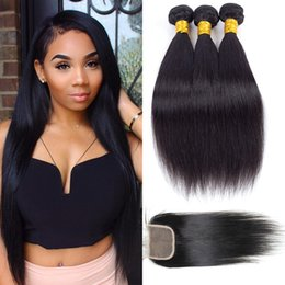 Wholesale Peruvian Hair Silk Closure Piece - Peruvian Silk Straight Hair Bundles With Lace Closure Free Middle Part 100% Unprocessed Brazilian Peruvian Straight Virgin Human Hair Weave