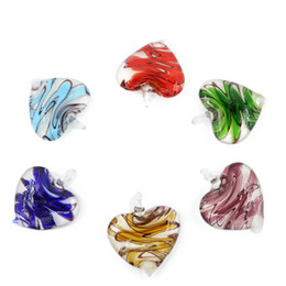 Wholesale Hand Shaped Pendants - Charming Heart Shaped Pendants Colorful Lampwork Glass Pendants for Necklace Made by Hand 12pcs pack MC0024