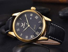 Wholesale Christmas Pins For Cheap - cheap price authentic brand gold case japan quartz leather band roman number face wrist watch for men christmas gift free shipment