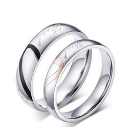 Amor romântico coração titanium anel homem mulheres titanium aço jóias anel de aço inoxidável anéis de prata para amantes do casamento festa de noivado de Fornecedores de anéis de prata românticos para homens