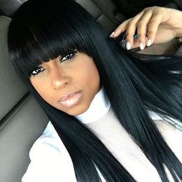 Wholesale Black Bangs Real Hair - 100% Real Brazilian Full Lace Human Hair Wigs With Bangs Glueless Lace Front Wig 150 Density Full Lace Wig For Black Woman