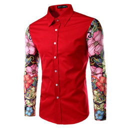 Wholesale Men Dress Shirt Red Xxl - Wholesale- Luxury Brand Men Shirt Long Sleeve 2016 Autumn Fashion Slim Fit 3D Floral Printed Mens Dress Shirts Casual Red Shirt Men Xxl