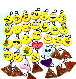 smiley face dolls Coupons - 6.0cm QQ Expression Rainbow poo Emoji Smiley Doll Keychains Cute Cartoon Plush Pendant Keychains High quality 38 Styles