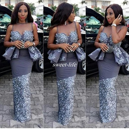 Wholesale Celebrity Peplum Dresses - Aso Ebi Black Girls Mermaid Prom Dresses With Sheer Neck Sexy Peplum Celebrity Evening Gowns Lace Applique African Party Cocktail Dress 2017