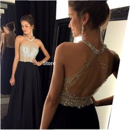 Wholesale Beaded High Neck Halter Gowns - Real Photo Sexy A-Line Black Prom Dresses 2017 Long Halter Beaded Backless Chiffon Evening Party Gowns Custom Graduation Dress