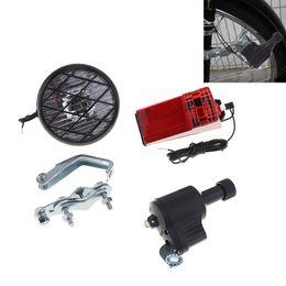 Wholesale generator sets - Economic 6V 3W Bike Dynamo Light Classic Bicycle Generator HeadLight Rears Set Suitable For All Bikes BLL_01B