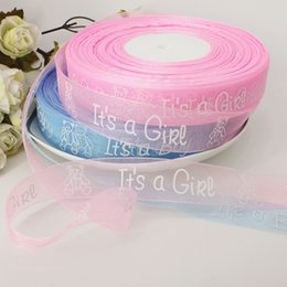 Wholesale Christmas Ribbon 25mm - 100yards lot 25mm Girl Boy Printed Organza Ribbon Baby Shower Favors DIY Accessories Christmas Colorful Ribbons for Gift Packing