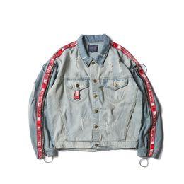 Wholesale Ribbon Jeans - HOMME+FEMME Turn-down Collar Side Ribbon on Sleeve Jeans Jacket Streetwear Cool Denim Jackets Men Cotton 2411PG