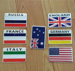 Wholesale France Flag Sticker - 3D Aluminum Russia Flag car stickers American Italy France Germany England Australia Badge Decal Auto For Bmw Fiat VW Ford Audi Honda Toyota