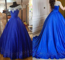 white ribbon charm Coupons - Royal Blue Ball Gown Prom Dresses 2017 Charming Off Shoulder Cap Sleeves Beading Satin Floor Length Arabic Plus Size Evening Gowns