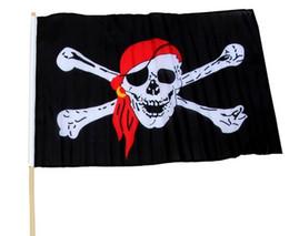 Wholesale Pirate Black Flag - Pirate Flags Skull Jolly Roger Crossbones Skull Polyester Black Flag Crossbones Banner 90*150cm Oriflamme For Home Deco OOA1924