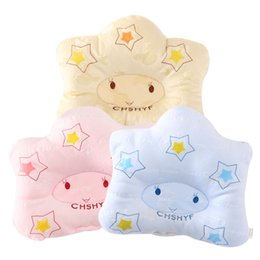 Wholesale Kapok Pillows - 2017 New cotton Baby pillow shape soft Infant bedding bear print oval shape100% cotton high quality 1pc free shipping fit 0-1 year