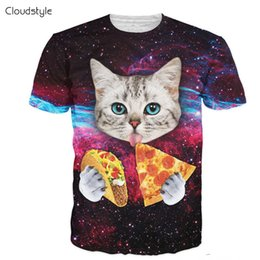 Wholesale Red Eat - Wholesale- Cloudstyle 21 Patterns S-3XL 3D Men's T-Shirt Short Sleeve Cat Eating Pizza in Space Printed Tshirt Homme O Neck Brand Clothing