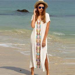 Wholesale Maxi Dresses White For Beach - 2017 Summer Beach Long Dresses For Women Boho White Embroidery V Neck Short Sleeve Placement Print Split Side Maxi Dress