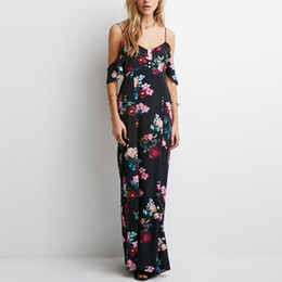 Épaule Robe de soirée d'été sans manches en mousseline de soie Femmes Maxi Dress Retro Floral Print Evening Long Party Dress ? partir de fabricateur