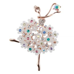 Wholesale Dancing Brooches Pin - Wholesale- Factory Direct Sale Ballet Dancing Girl Blue and Grey Glass Brooches For Woman Girls