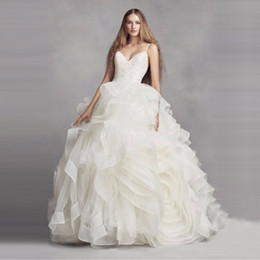 Wholesale Red Rosette Dress - Amazing Organza Rosette Wedding Dress Ball Gown Sexy Backless Layer Skirt Crystal Designer Spaghetti Strap Sleeveless Bridal VW351371