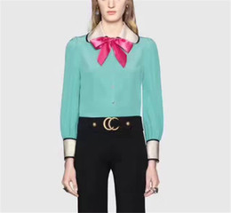 Wholesale Designer Shirts For Women - Blue Shirts for Women 2017 Brand Designer High Quality 100% Silk Shirts for Party Fashion Runway Women Shirts