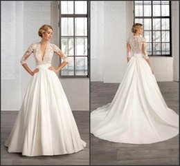 Wholesale Custom Made Band - 2017 A Line vestidos de novia Modest Wedding Dresses with 3 4 Long Sleeve Sheer Deep V Neck Appliques Court Train Ruched Band Bridal Gowns