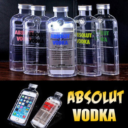 Wholesale Iphone Tpu Design Case - 3D ABSOLUT VODKA Wine Beer Bottle Design Transparent Clear Crystal Anti-shock Soft TPU Silicone Cover Case For iPhone 6 6S Plus SE 5 5S