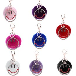 Wholesale Crystal Mobile Phone Charm - New Smiling face key chain fashion mobile phone package decoration water diamond crystal cartoon accessories - Free Shipping + Free Gift