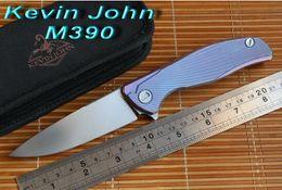 Wholesale Ceramic Combat Knives - Kevin John M390 or S35VN blade Titanium Icebreaker F95 folding knife double row ceramic ball camping hunt pocket knife EDC tools