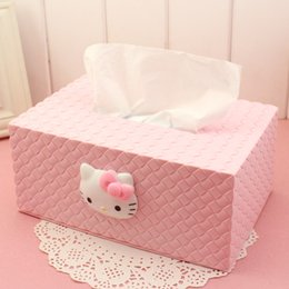 Wholesale Hello Bathroom - Wholesale- Hello kitty Parlor Room Tissue Boxes Car Napkin Tissue Case Toilet Bathroom Tissue Canister Paper box Removable ZJH18