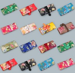 Wholesale Chinese Silk Jewelry Roll - 10 pcs per lot Fashion style Women Jewelry Roll Travel Storage satin Bag Chinese Silk Packaging Pouches mixed colors