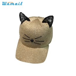 Wholesale Cat Snapback - Wholesale- 2017 Summer Womail 1pc Women Cat Ear Pattern Sequin Baseball Cap Snapback Caps Hip Hop Hats Sun Cap A13