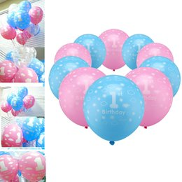Wholesale Happy Balls - 100 pcs   lot 1 year for the birthday balls for the baby latex balls 12 inches happy birthday decorations Mouse balls party