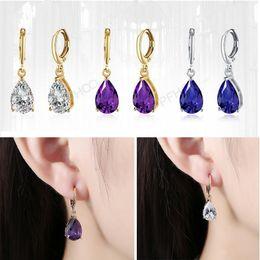 Wholesale Dropping Earings - Zirconia dangle earrings Rose gold plated jewelry sets ladies fashion drop earings for girls luxury handmade accessories women jewelry