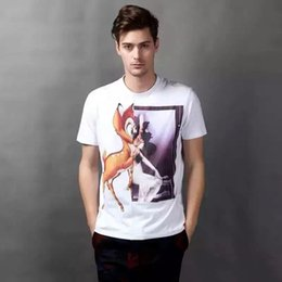 Wholesale T Shirts Cotton Modal - 2017 Summer new arrival Western fashion brand Notre Dame printing Round neck Easy-matching deer couple cotton T-shirt