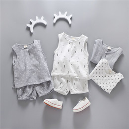 Wholesale Baby Boy Linen - Baby kids cotton linen outfit summer new children triangle star dots printed vest tops+shorts 2pcs sets baby boys girls cotton clothes A0799