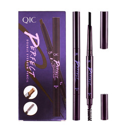 Wholesale Make Up Double Head Brush - 120pcs=10Set QIC Eyebrow Pencil Double Head Make Up Waterproof Automatic Eyebrow Pencil with Eye Brows Brush Cosmetic Tool Q701