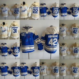 Wholesale Waterproof Sweaters - Mens Los Angeles Dodgers Sweater 22 Clayton Kershaw 23 Adrian Gonzalez 66 Yasiel Puig 42 robinson White Cream Free Shipping