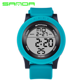 Wholesale Digital Clock Date Time - 2017 Sanda Rubber Strap Sport Watches LED Silicone Alarm Blue Stop Time Date Wristwatch For Men Male Luxury Brand Top Quality Clock Hours